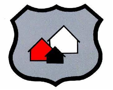 Image of a police badge shape with three house shapes inside