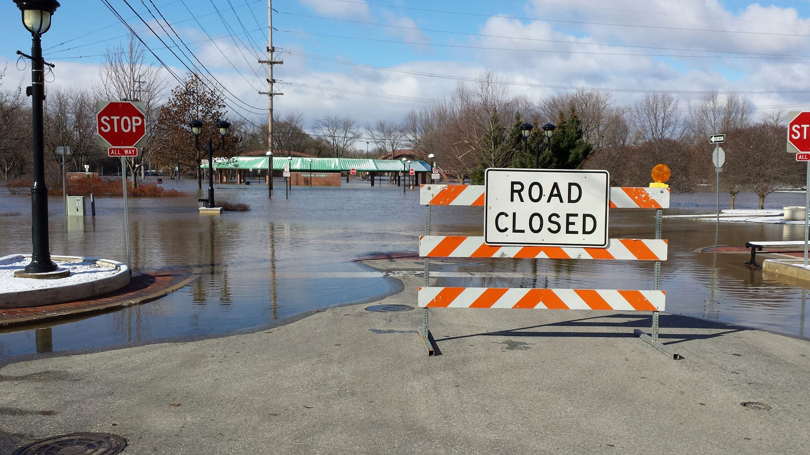 Image of a road closed due to flooding