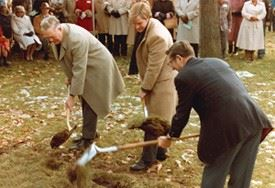 Image of threee representatives using shovels at a groundbreaking