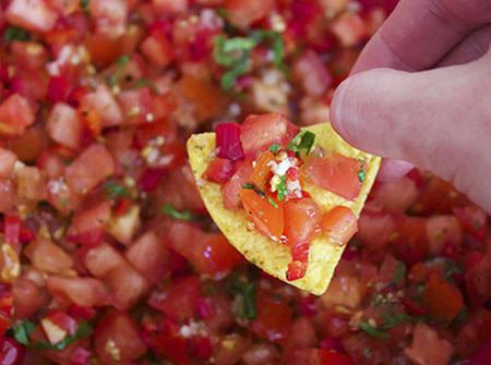 Tomato salsa and tortilla chips