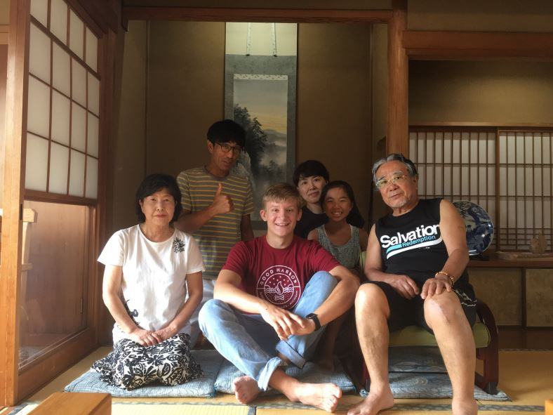 A Japanese family with their Midland exchange student