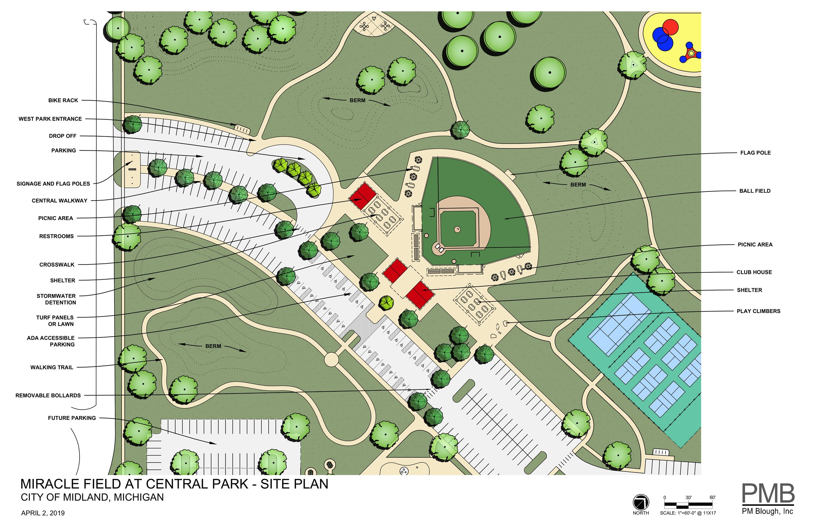 Central Park Miracle Field Site Plan Rendering 04-02-2019
