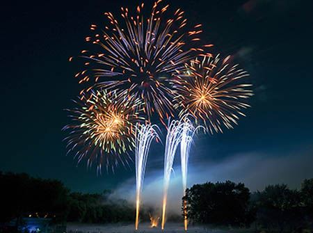 Giant fireworks shoot into the night sky