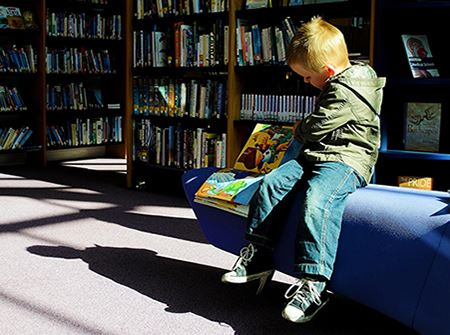 A young boy reads a book in a sun-streamed library