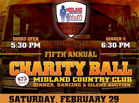 Logo for the Midland Firefighters Youth Foundation Charity Hall on February 29, 2020