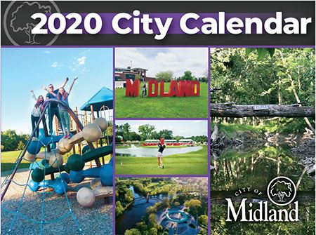 A screenshot of the 2020 City Calendar featuring a creek, the Tridge, people on a playground structu
