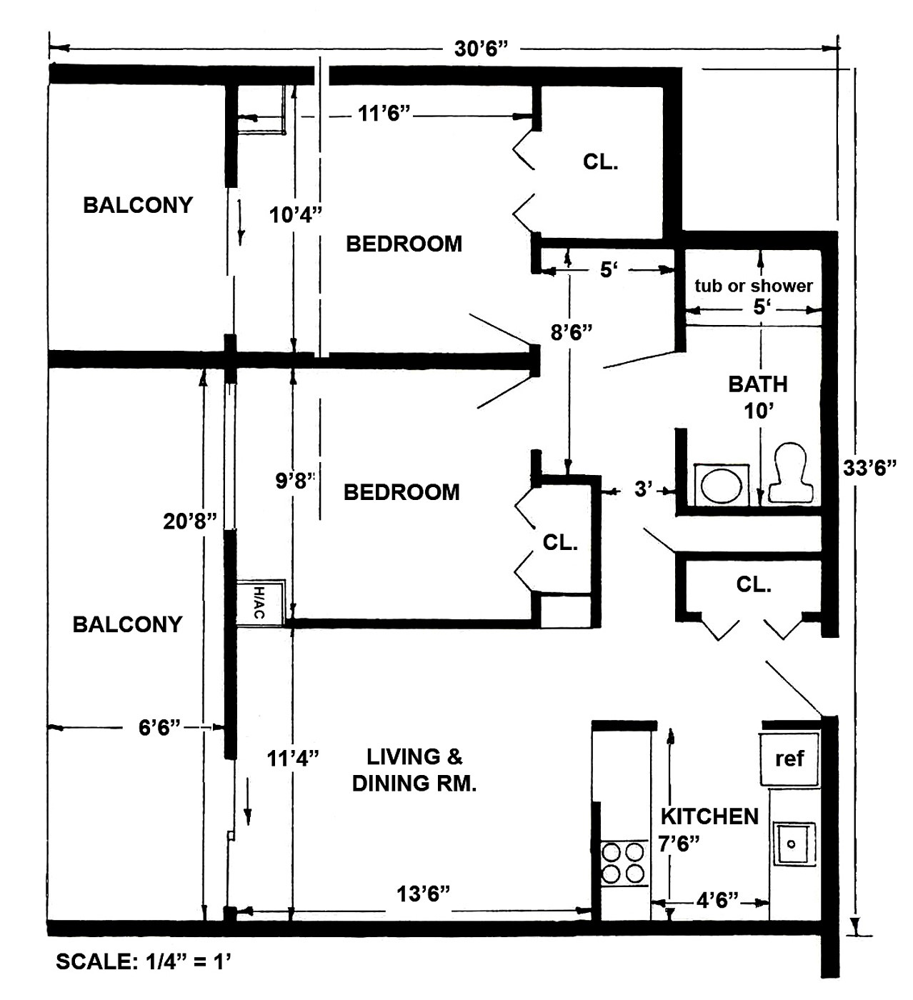 2 Bedroom Layout - Large layout