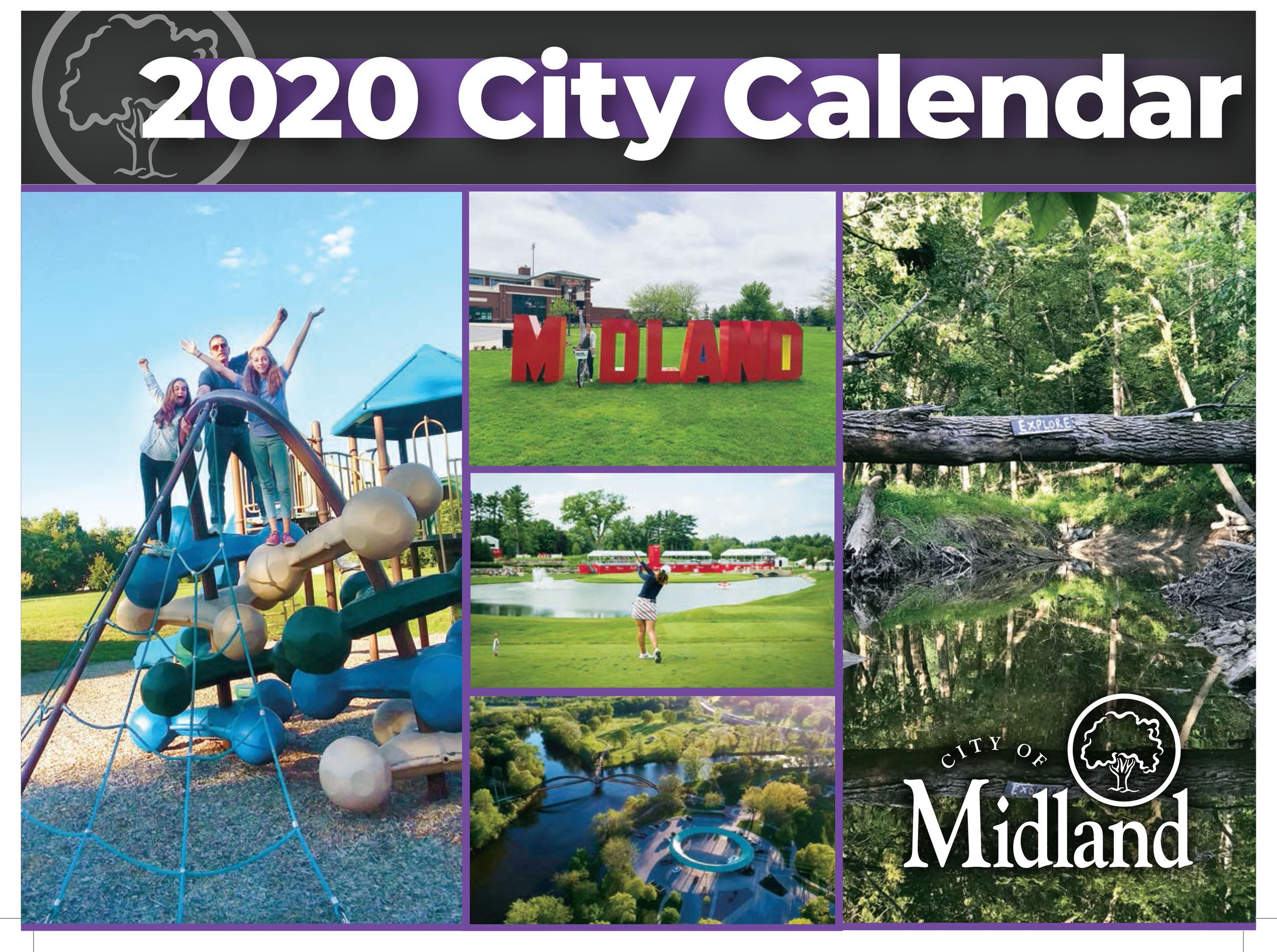 "A calendar cover that says ""City Calendar & Services Guide"" with photos of people on playgroun"