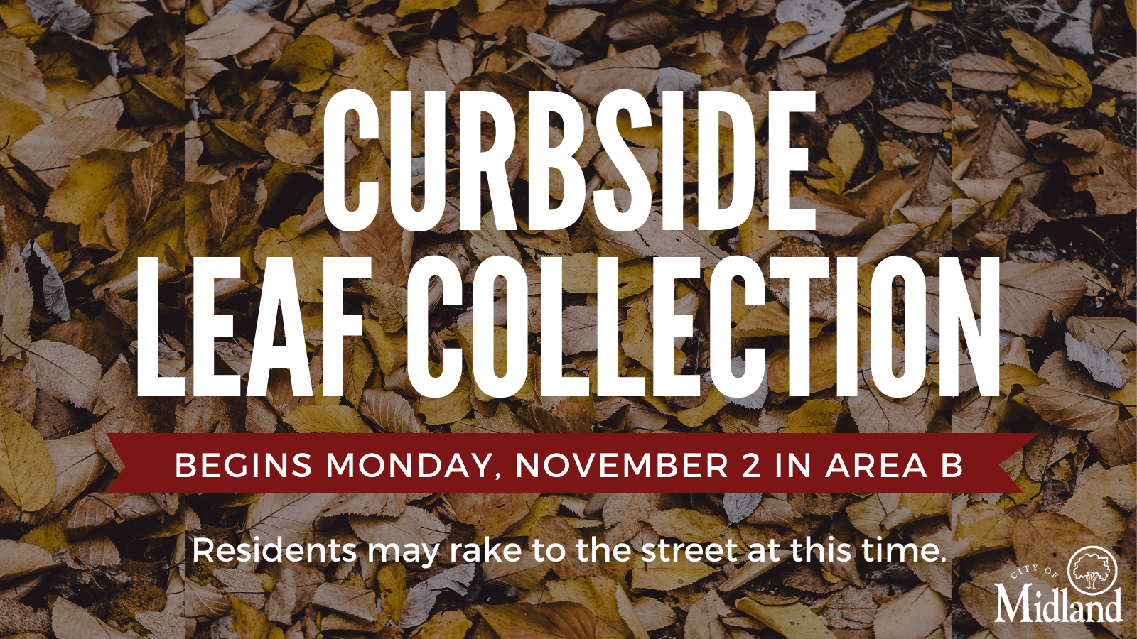 2020 curbside leaf collection begins on Monday, November 2 in Area B
