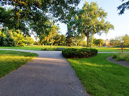 A paved biking trail surrounded by green grass, plants, and trees at sunset