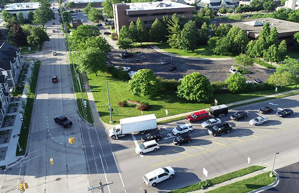 Overhead photo of vehicles sitting at the corner of Jerome and Buttles