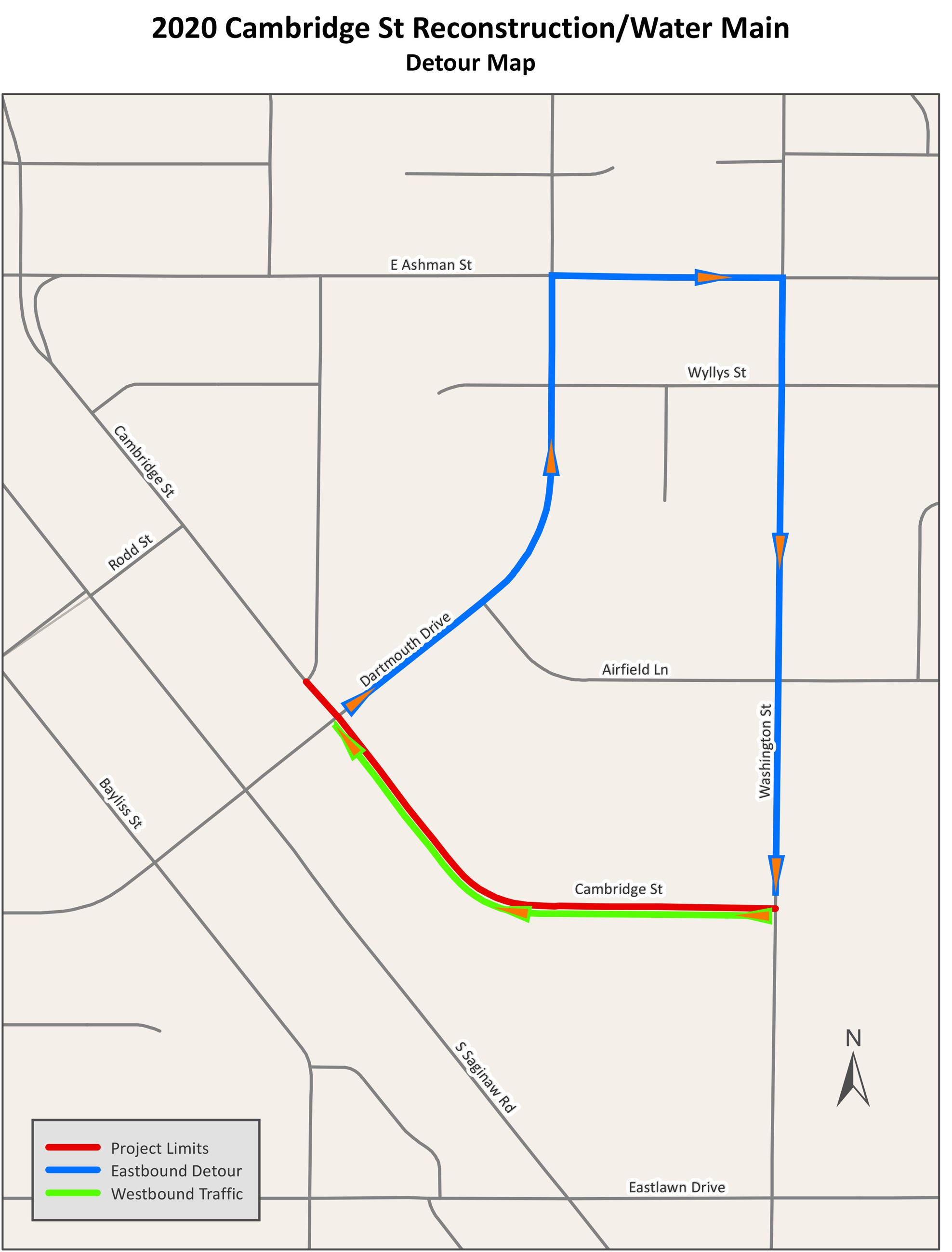 A detour route for eastbound traffic on Cambridge Street