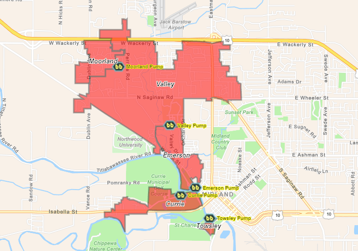 A map shows red polygons where the City experienced sanitary sewer outages during the May 2020 flood