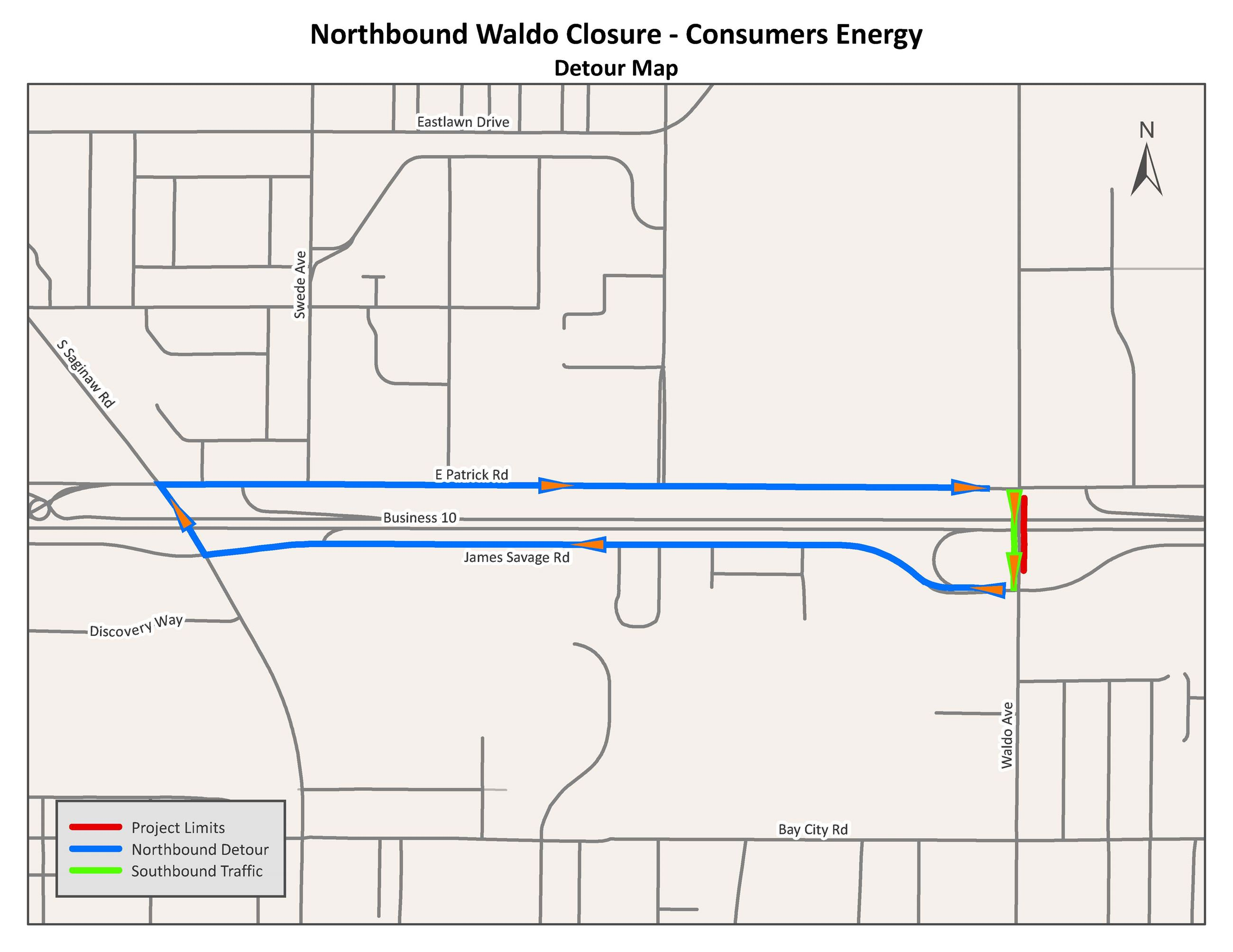 A map of the detour routes around the closure on Waldo Avenue