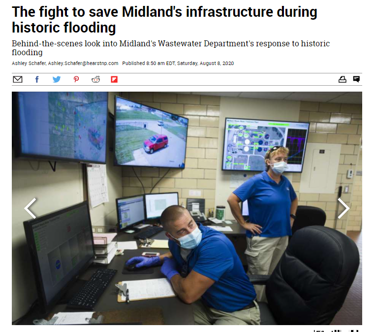 "A screenshot of a news article that says ""The fight to save Midland's infrastructure from floo Opens in new window"