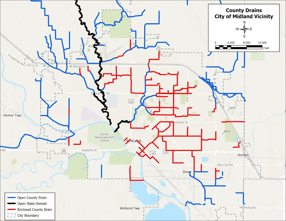 Water Jurisdiction map showing property rights for Sturgeon Creek Opens in new window