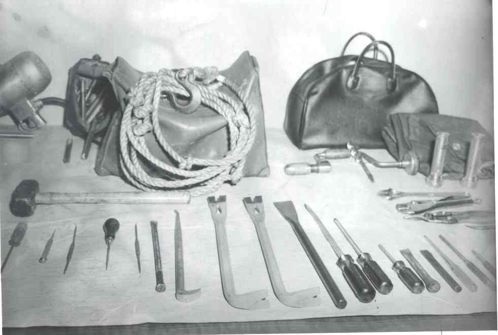 Black and white image of JC Penney B&E 7-22-62 Safecracking Tools 2